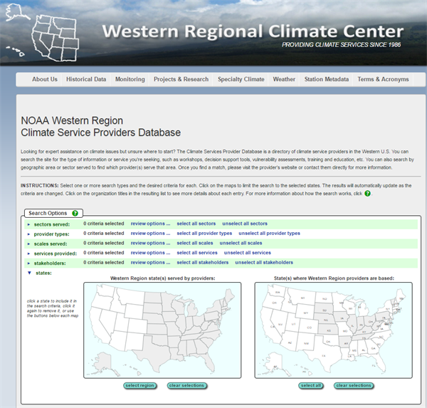 A Climate Services Database for Western States