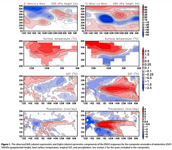 What is responsible for the strong observed asymmetry in teleconnections between El Nino and La Nina?