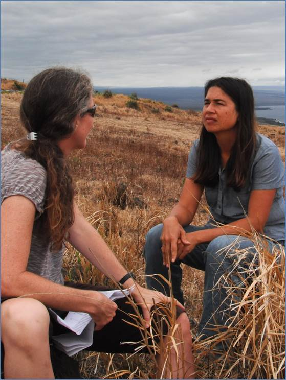 A CSI-funded researcher interviews a rancher in Hawai'i to better understand the impacts of drought on her ranch operations. Credit: V. Keener
