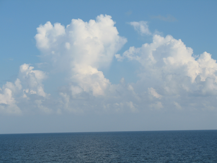 Billowing cumulus over the Gulf of Mexico, August 2006. (Credit: NOAA)