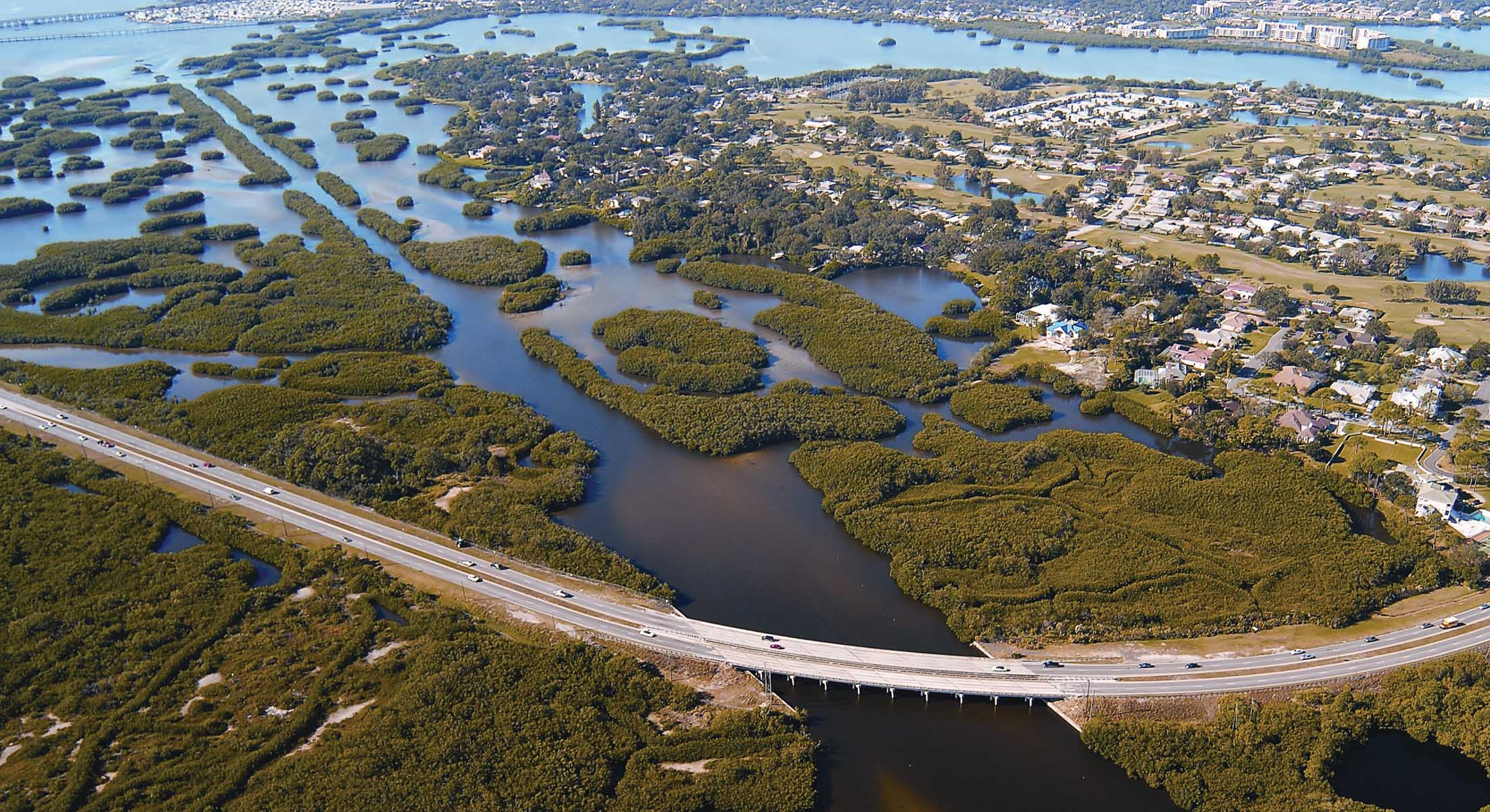 Natural 'green barriers' help protect this Florida coastline and infrastructure from severe storms and floods. (Credit: NOAA).