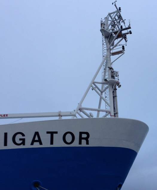 Air-Sea flux sensors on the bow tower of the R/V Investifator in Hobart, Tasmania. (Credit: Chris Fairall, NOAA)